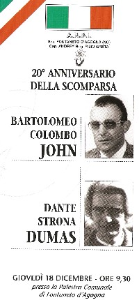 Locandina 20° Anniversario partigiani John e Dumas