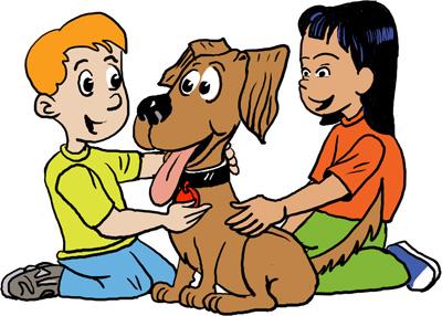 bambini fanno le coccole al loro cane