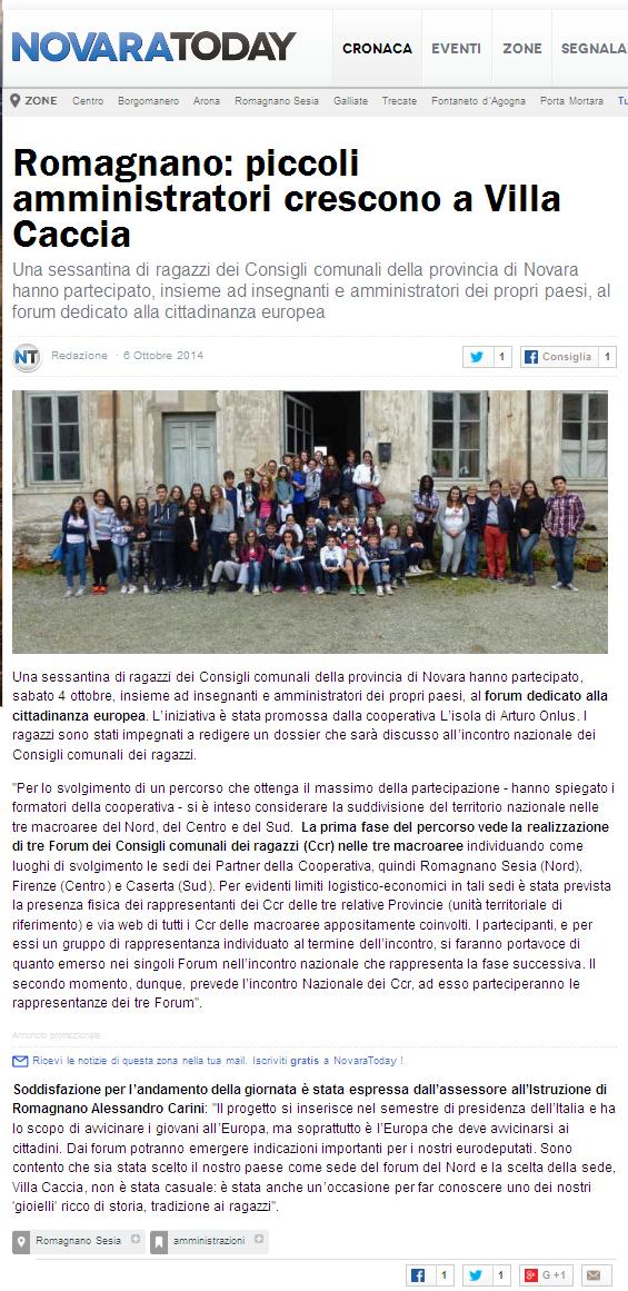 Romagnano: piccoli amministratori crescono a Villa Caccia