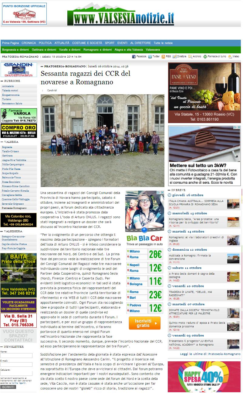 Sessanta ragazzi dei CCR del novarese a Romagnano