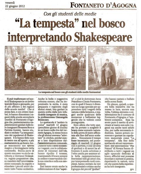 """News: [22/06/2012] L'INFORMATORE - """"La Tempesta"""" nel bosco ..."""