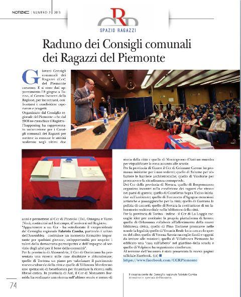 Notizie Regione Piemonte: Raduno dei Consigli comunali dei Ragazzi del Piemonte