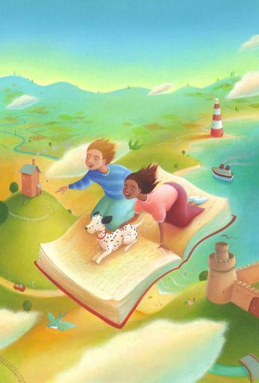 bambini volano su un libro